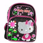 """Hello Kitty Flowers Girls 16"""" Kids Large ackpack and Girls School Bag Black Pink"""