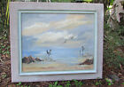 MID CENTURY ART OIL ON CANVAS TIKI BEACH SCENE BURLAP FRAME EDNA CLARKE