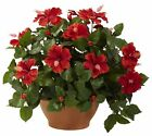 Hibiscus Artificial Silk Plant with Clay Planter by Nearly Natural | 20 inches