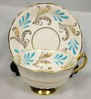 ELEGANT PARAGON BONE CHINA CUP & SAUCER GOLD GILDED TURQUOISE FEATHER PATTERN