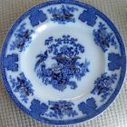 Antique Flow Blue Corbeille 10 1/2 inch Plate with Gold
