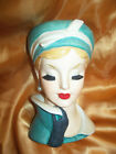 Lovely NAPCO LADY HEAD VASE Green Turbin 1960 Headvase Original Jewelry NR