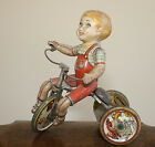 Bicycle Tricycle kids Antique WIND UP toy TIN figure 8 works!