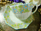 STAR PARAGON TEA CUP AND SAUCER MOLDED FLUTED HP BLUE FLOWERS BLUE TRIM c1914