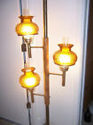 Vintage MID CENTURY Pole Light Floor to Ceiling Tension Lamp, Amber Quilt Glass