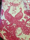 French Country Red And Yellow Peacock Toile Fabric* Interior/ Exterior 56x100