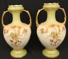 ANTIQUE LATE MAERS ETON VASE SET GREEN GOLD FLOWERS LEAVES 12