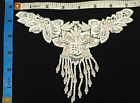 7x55 Beaded Fringe Floral Applique with Sequins 2 Pieces White