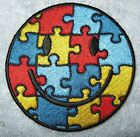Autism Awareness Smiley Face Puzzle Piece Embroidered Sew On Biker Patch new