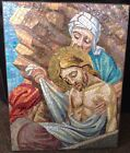 Antique 19th Century Stations Of The Cross Mosaic Stone Italian Tile Plaque