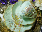 LIMOGES REDON MOULDED TEA CUP AND SAUCER TRIO BABY BLUE PASTEL FLORAL 1891 GILT