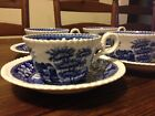 Vintage Set of 4 Copeland Spode's Tower England Blue Cup & Saucers