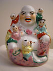 Asian Smiling Buddha with 5 Happy Babies Fertility Figurine Statue Porcelain