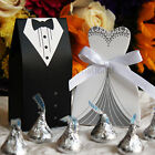 50 100 150 Wedding Favor Boxes Groom Bride Dress  Tuxedo Shower Party Style 1