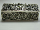 AN OLD ALL SILVER FILIGREE MADE / DECORATED HINGED LID BOX