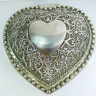 A SOLID HEAVY 1008 gr. SILVER TONE METAL HEART SHAPED HINGED LID BOX