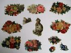 Mixed Lot of Vintage Die Cuts For Scrap Booking w Embossed Cats  Pansies