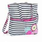 Thirty One 31 Retro Metro Fold Over Bag Tote Bubble Bloom Grey Wave FREE SHIP!