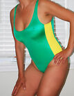 Sexy Bathing Suit Leotard Green with Yellow Stripe Super High Cut Legs (New) L