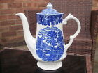 VINTAGE ENOCH WOOD & SONS BLUE AND WHITE WARE COFFEE POT- ENGLISH SCENERY