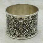 Nice Antique Sterling Silver Siam Decorated Napkin Ring SS926