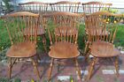 6 Ethan Allen Windsor Brace Back Side Chairs Maple Nutmeg