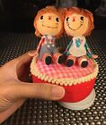 VINTAGE RAGGEDY ANN AND ANDY DOLL MUSIC BOX JAPAN MUSICAL BOX FIGURINE TOY