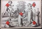 Authentic c1805 German Engraved Transformation Playing Cards Cotta Single +COA