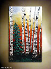Birch Forest Original Painting.Palette Knife.Impasto Landscape Painting  -Nata S