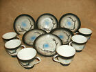 A set of 6 lithophane moriage tea cups and saucers
