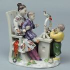 Antique Meissen Porcelain Figurine - Japanese Mother & Children W Bird Flower PC