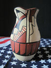Indian style vase Art Pottery Unknown Maker Red Hand Painted white