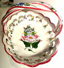Hand Painted Ceramic Basket Portugal Open Weave Lattice Floral White RC