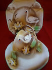VINTAGE BAVARIA TEA CUP AND SAUCER TRIO  BROWN FADE WATER LILY SWANS c19