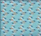 FREE SHIP Eleanor Grosch Imperial Pheasant Feather Stripe Blue fabric 3 yards