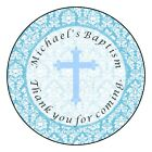 Baptism Christening Communion Personalized Party Favor Labels Stickers BLUE