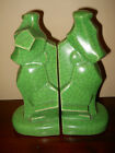 RARE ANTIQUE ART DECO POTTERY SCOTTY DOGS  CRACKLE GLAZE CUBISM  BOOKENDS*MINT*