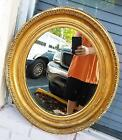 Antique Wooden Wood Gesso Gold Gilt Mirror or Frame for an Oil Painting Oval Old
