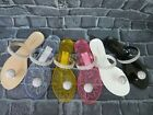 New Jelly Sandal Venice Milan Rhinestone Button Thong Flip Flop Ann More Shoes