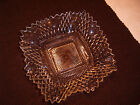 DIAMOND POINT Cut Depression Glass Square Candy Dish Ruffled Edge Clear