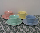 * LU-RAY PASTEL 4 CUPS & SAUCERS - SIGNED - MADE IN THE U.S.A.!