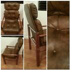 VINTAGE EAMES ERA MID CENTURY MODERN CHAIR CRHOME, WOOD, & FAUX LEATHER