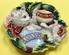 FITZ & FLOYD Canapé plate cat Christmas Kitten Kristmas Kitty Holiday cookie