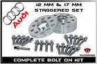 4 Pc Audi  12 MM  17 mm Thick  Hub Centric Wheel Spacers W 20 EXT Lug Bolts