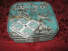 222 FIFTH ADELAIDE - TURQUOISE APPETIZER PLATES - SET OF 8 - NEW