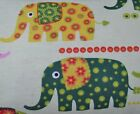 Snuggle Flannel Funky Elephants on Lt Green Apparel Quilting Gen BTY New