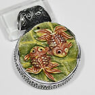 """FINELY MOLDED CAMEL BONE CARVED TWIN FISHES,HAND CARVED .925 SILVER PENDANT 1.6"""""""