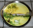 Vintage Noritake Hand Painted Plate Gold Gilded Swans on a Lake