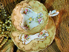 COALPORT   TEA  CUP AND SAUCER  ADELAIDE soft yellow HP FLOWERS LUSH GOLD  c183O