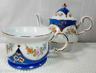 Teapot & Lid with Matching Cup - Blue & White w/Multicolor Flowers and Gold Trim